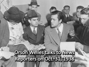 Orson Welles talks to News Reporters